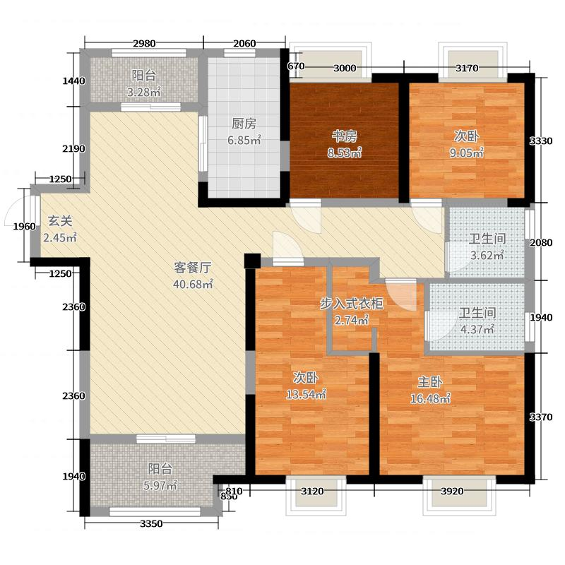 红星国际广场4室2厅2卫1厨140.00㎡户型图