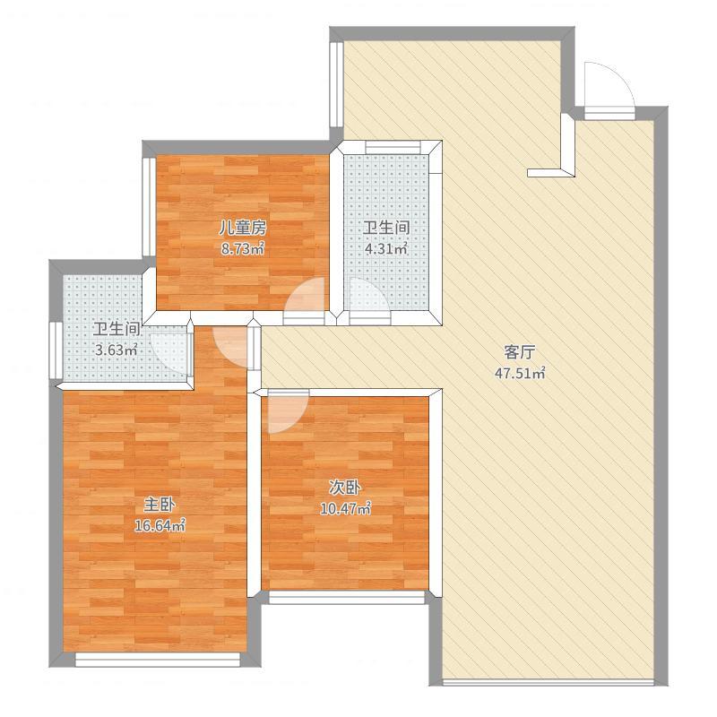 中国户型大全 眉山 公园1号三室两厅双卫 3室1厅2卫0厨 100-130㎡