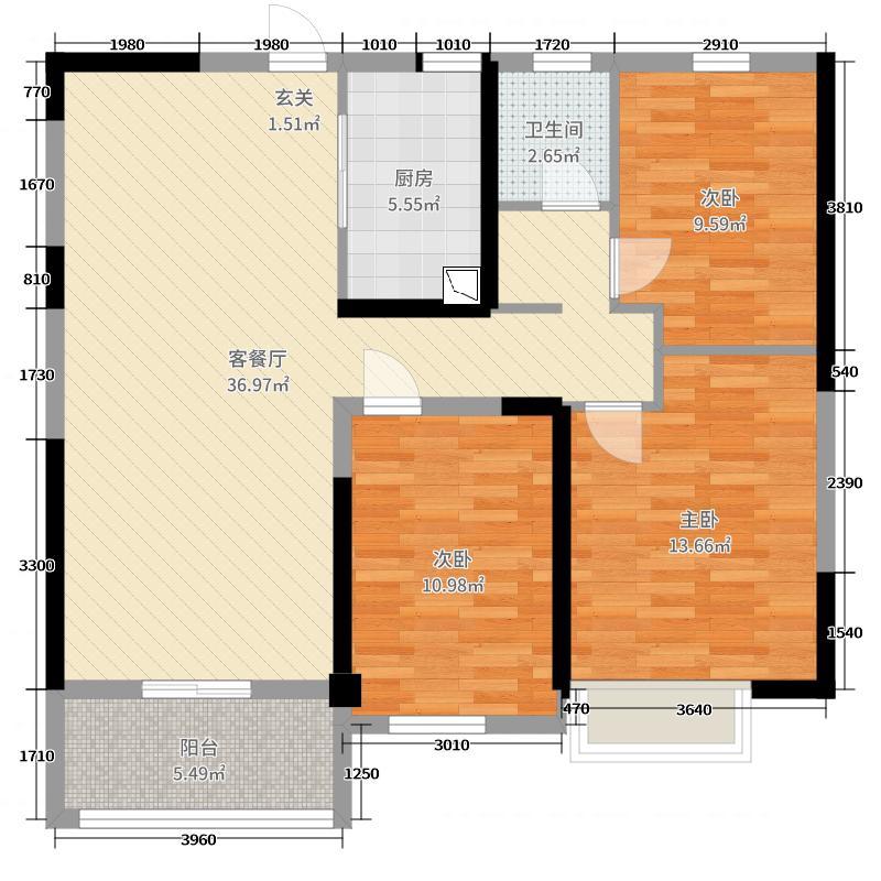 中国户型大全 南京 碧桂园城市花园 3室2厅1卫1厨 100-130㎡  户型图