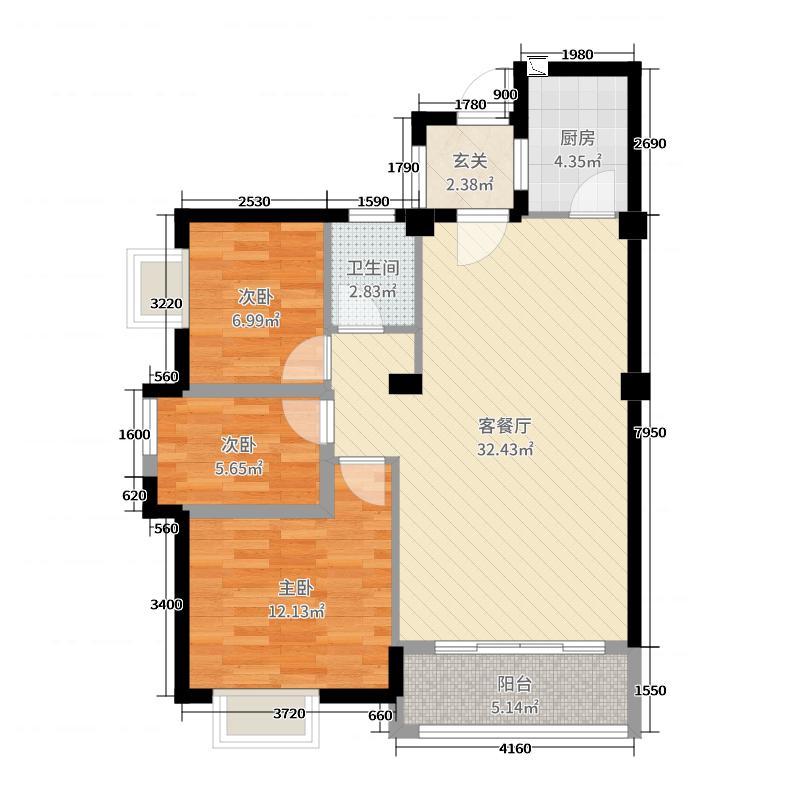 旗山领秀3室2厅1卫1厨90.00㎡户型图