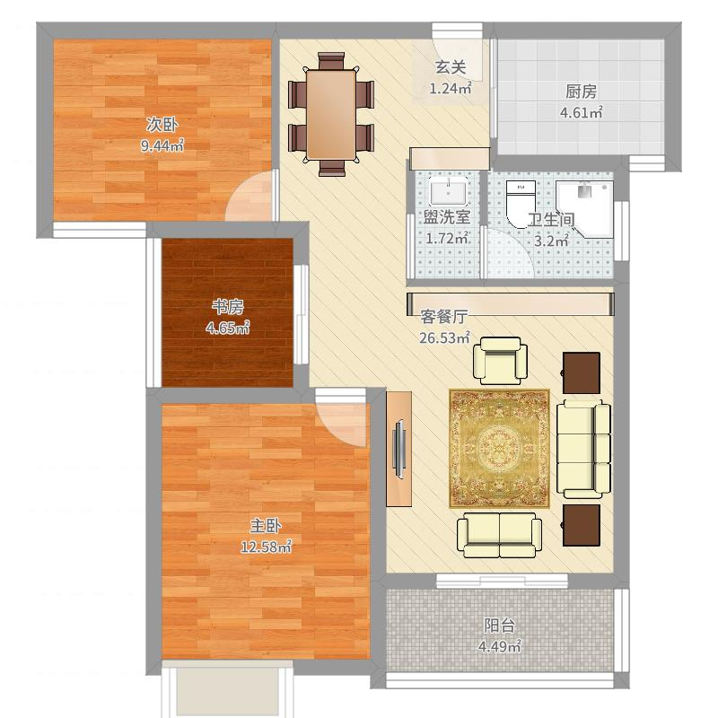 石首山水一品3室2厅1卫1厨84.00㎡户型图
