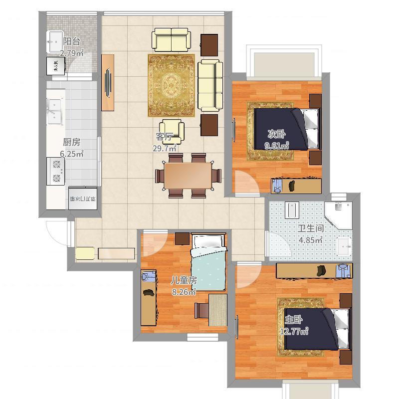 恒大天府半岛3室1厅1卫1厨93.00㎡户型图