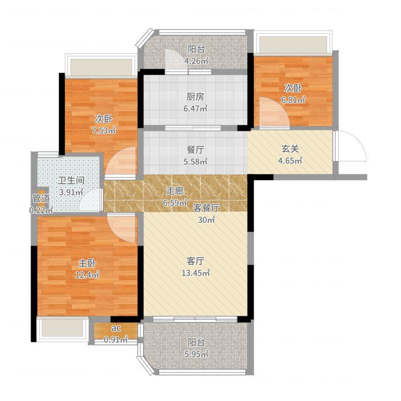 中国户型大全 南京 碧桂园城市花园 3室2厅1卫1厨 80-100㎡  户型图报
