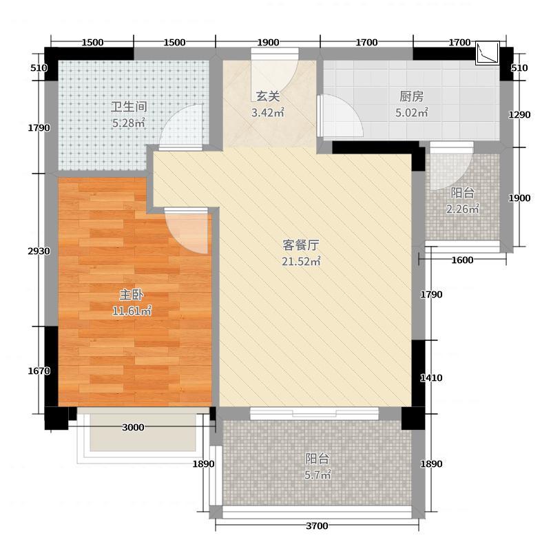 恒大天府半岛1室2厅1卫1厨67.00㎡户型图
