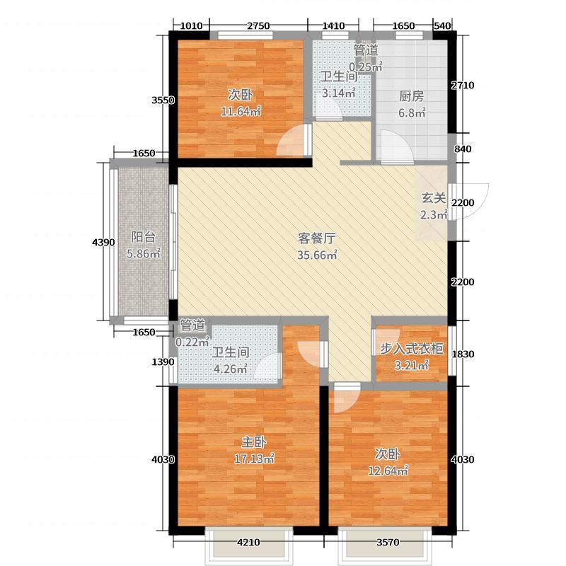 碧桂园天汇3室2厅2卫1厨126.00㎡户型图