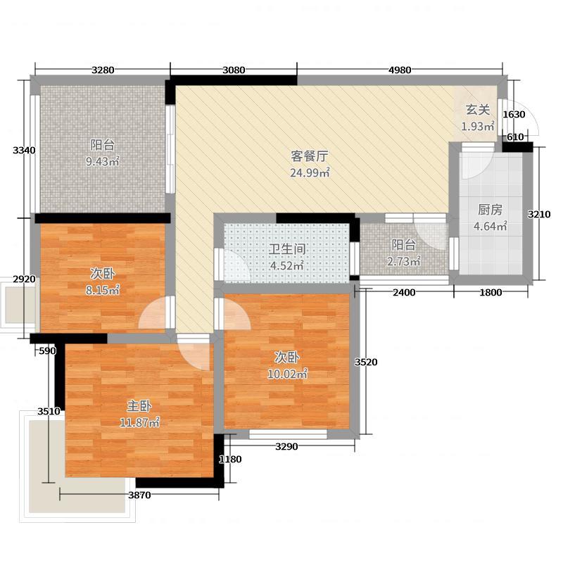 利川麓岛国际3室2厅1卫1厨101.00㎡户型图