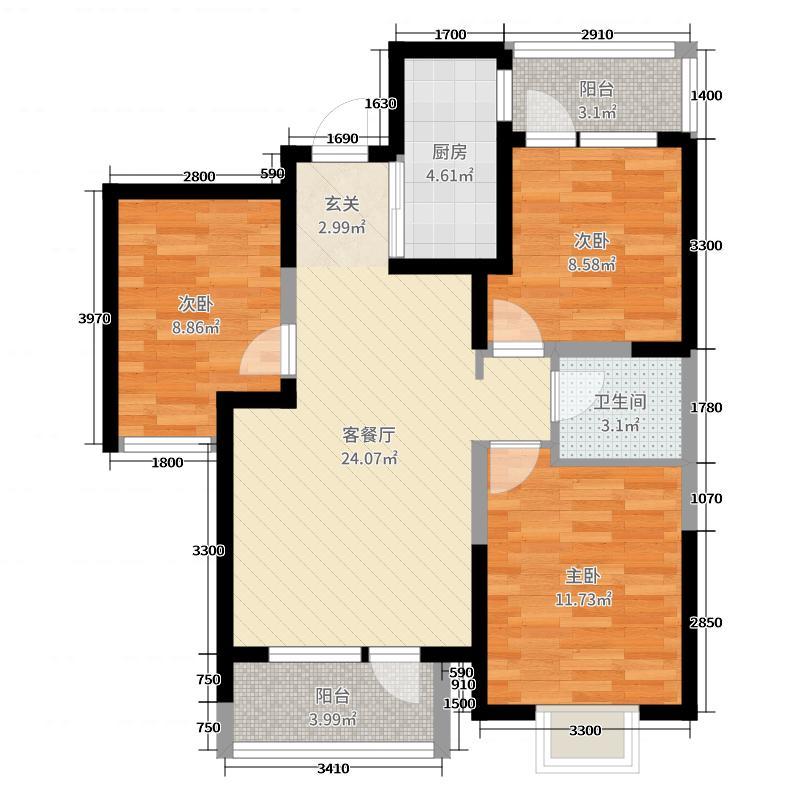 阳光100三室两厅3室2厅1卫1厨93.00㎡户型图图片