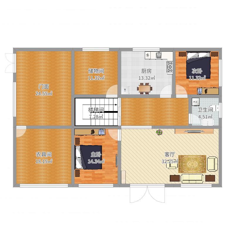 带门面自建别墅一楼平面设计(卧室3.6米开间)