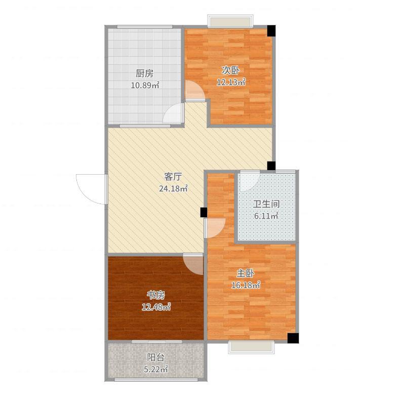 金鼎名城3室1厅1卫1厨109.00㎡户型图