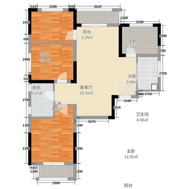 三一歌雅郡3室2厅1卫1厨106.00㎡户型图