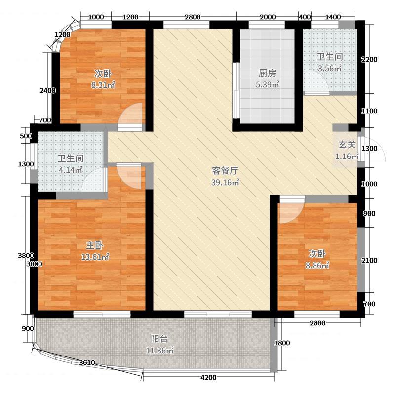 中元御桂园3室2厅2卫1厨130.00㎡户型图