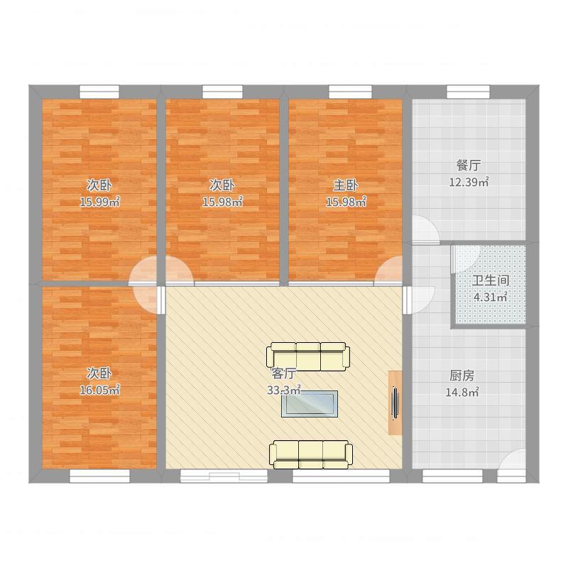 农村一层平房4室2厅1卫1厨161.00㎡户型图户型图大全