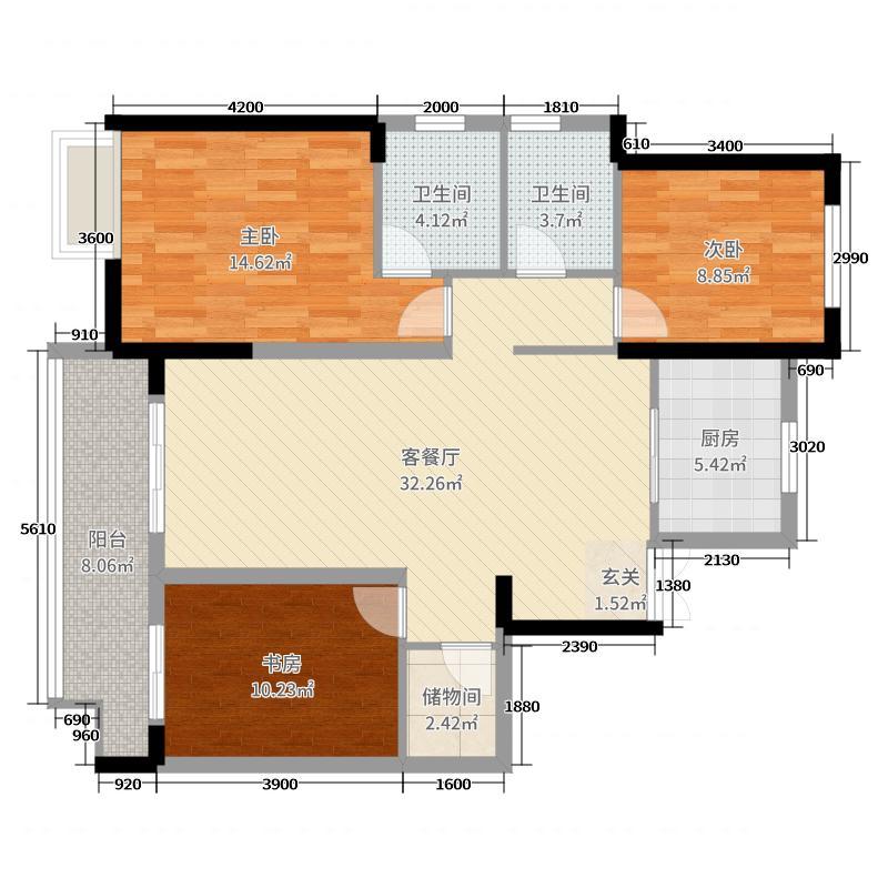 滨海县昌兴壹城3室2厅2卫1厨126.00㎡户型图