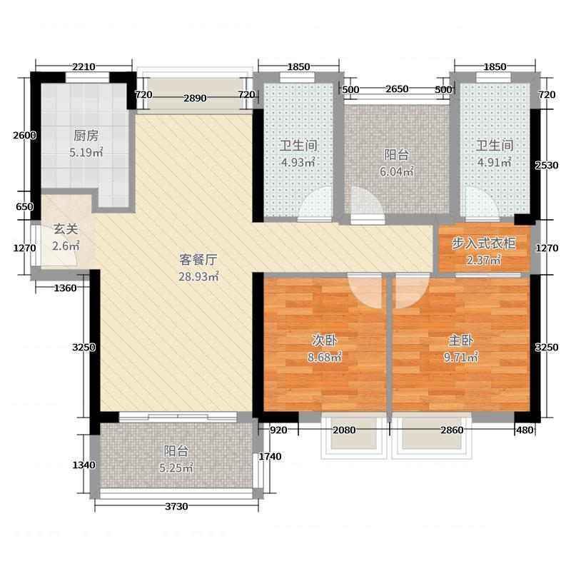 保利碧桂园天汇2室2厅2卫1厨95.00㎡户型图