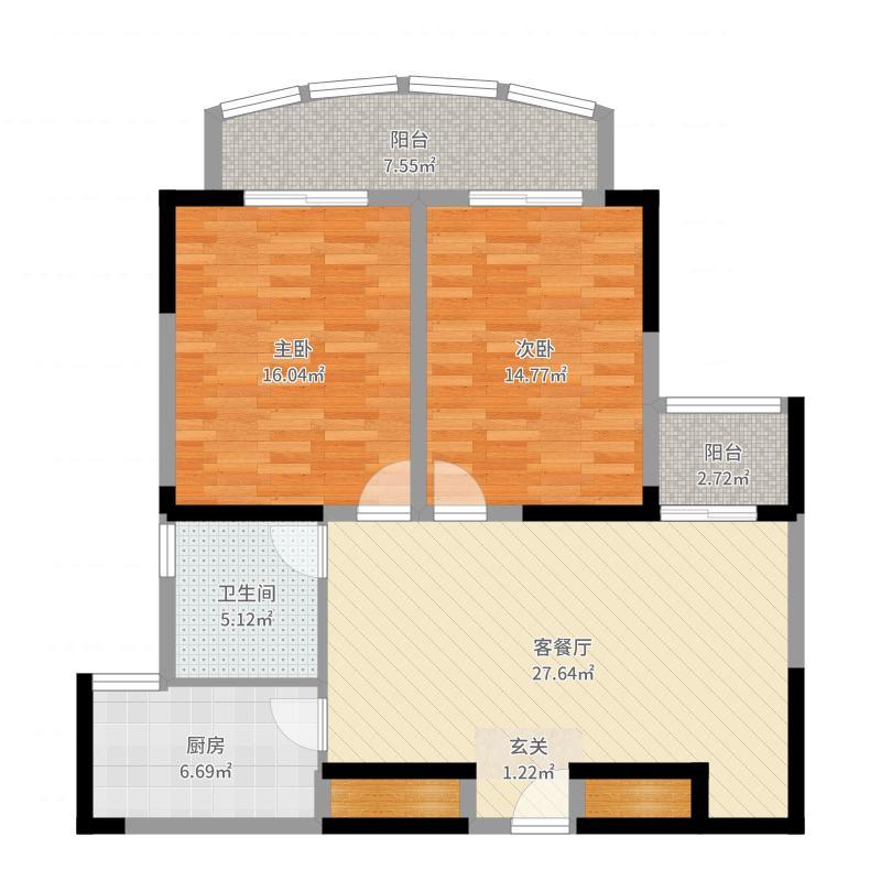 汇仙湖金水湾2室2厅1卫1厨103.00㎡户型图