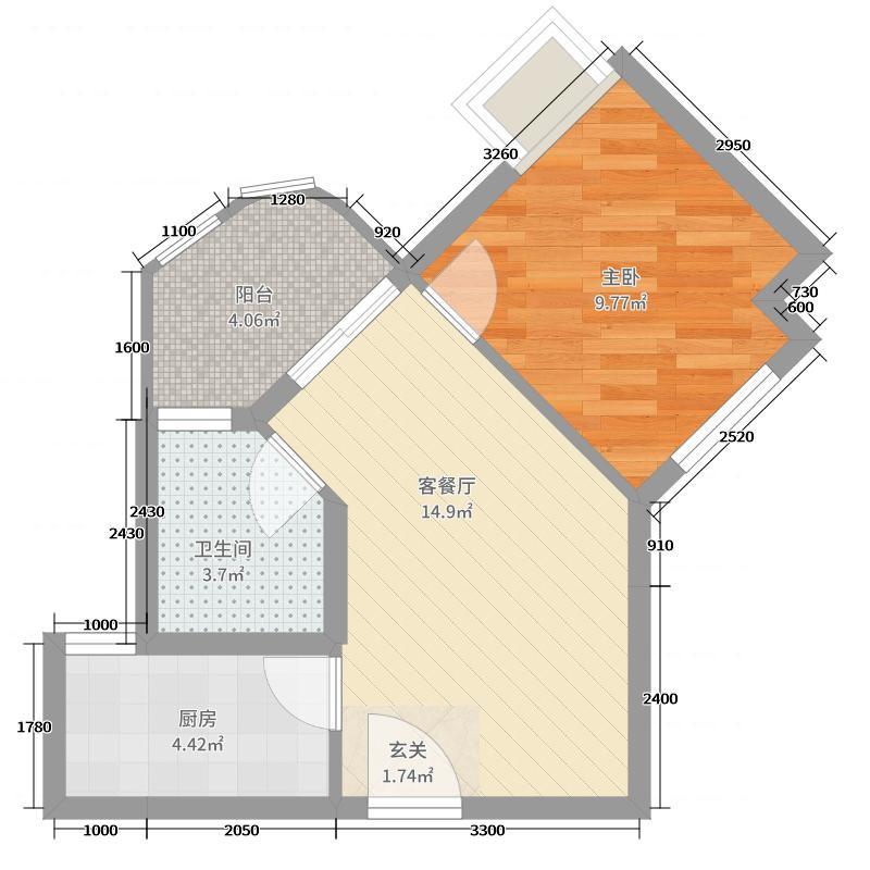 如东碧桂园1室2厅1卫1厨56.00㎡户型图