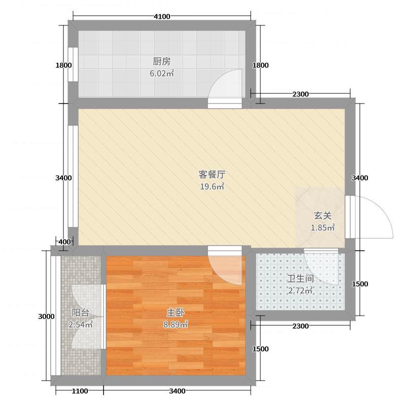 漫山花溪谷1室2厅1卫1厨62.00㎡户型图