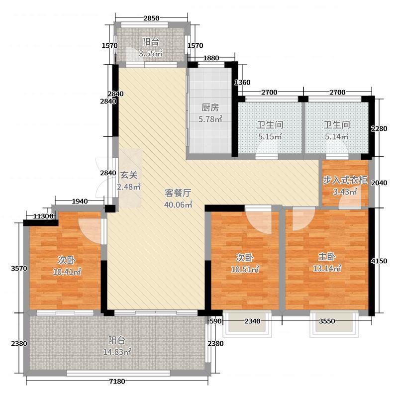 海门翠湖天地3室2厅2卫1厨140.00㎡户型图
