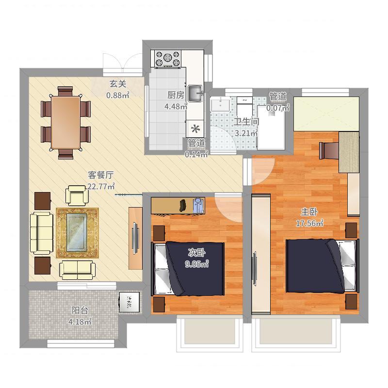 如皋中南世纪城3室1厅1卫1厨85.00㎡户型图