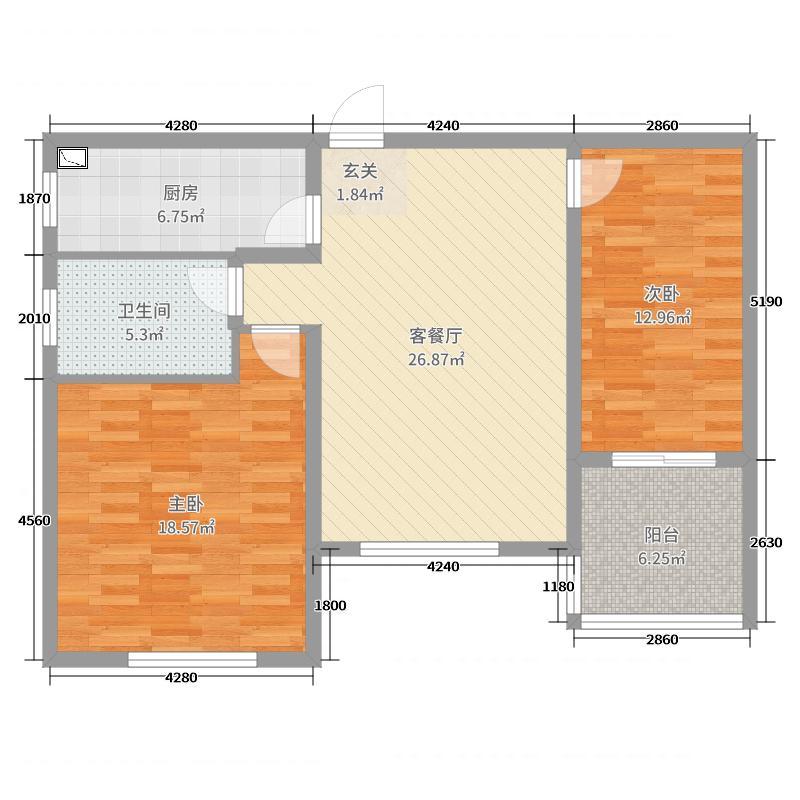 如东中天润园2室2厅1卫1厨96.00㎡户型图