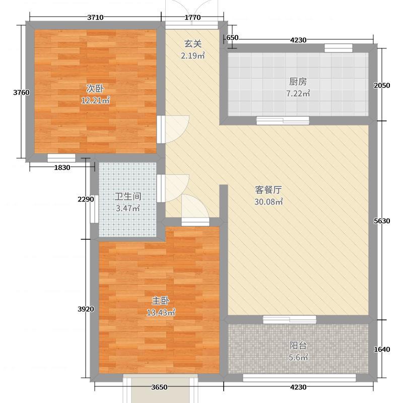 兰石豪布斯卡2室2厅1卫1厨90.00户型图户型中央美院园林景观v户型