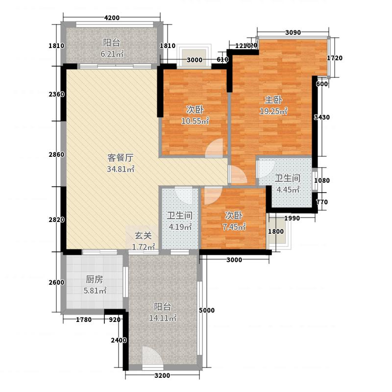 维港半岛3室2厅2卫1厨134.00㎡户型图