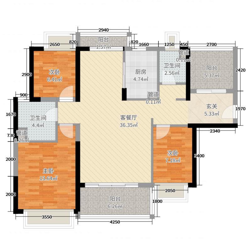 保利碧桂园天汇3室2厅2卫1厨134.00㎡户型图