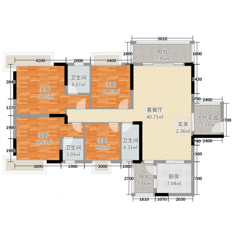 朝南维港半岛4室2厅3卫1厨161.00㎡户型图