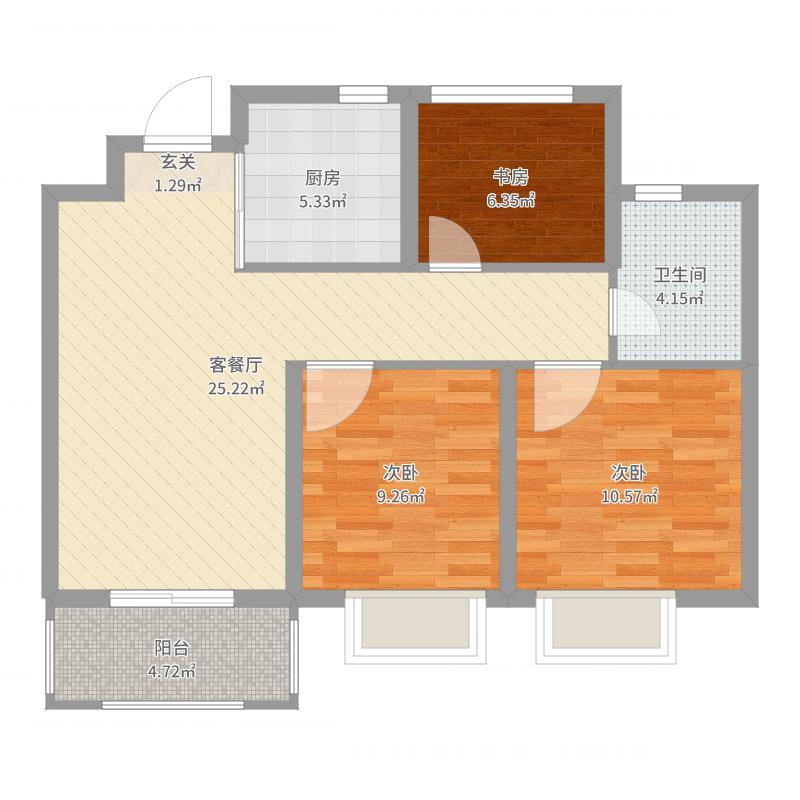 正荣悦岚山3室2厅1卫1厨82.00㎡户型图