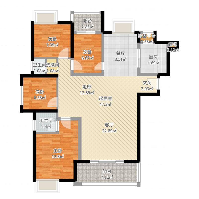 悦泰春天4室0厅2卫1厨124.00㎡户型图