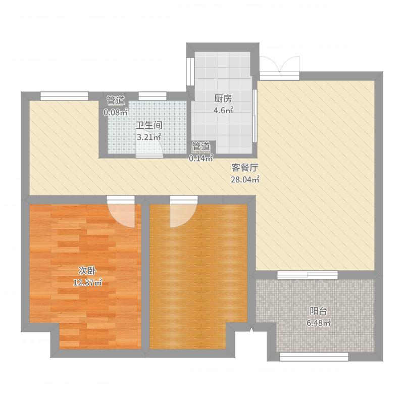 如皋中南世纪城1室2厅1卫1厨82.00㎡户型图