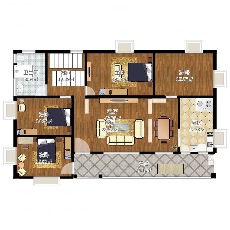 一层半新农村别墅4室1厅1卫1厨199.00㎡户型图