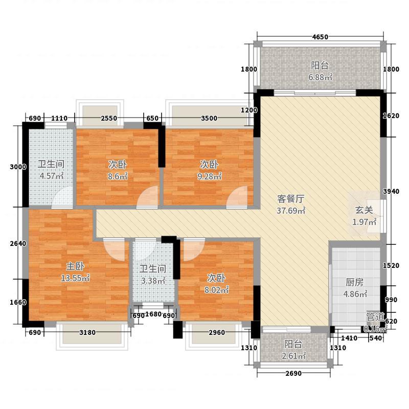 就是新天地4室2厅2卫1厨137.00远洋图家装设计户型v就是图片