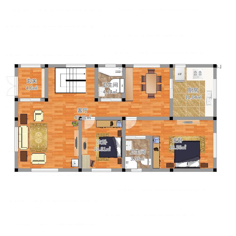 求设计户型 农村宅基地8x15米