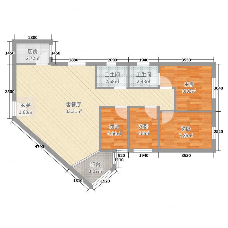 广东 深圳 银庄大厦 4室2厅2卫1厨 87