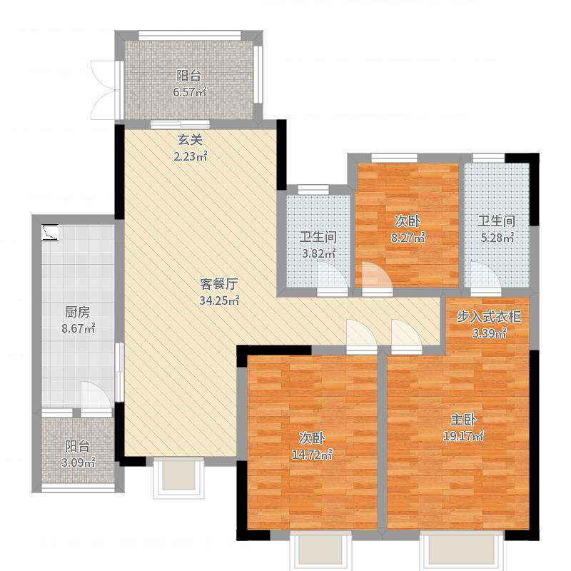 恒大天府半岛3室2厅2卫1厨130.00㎡户型图