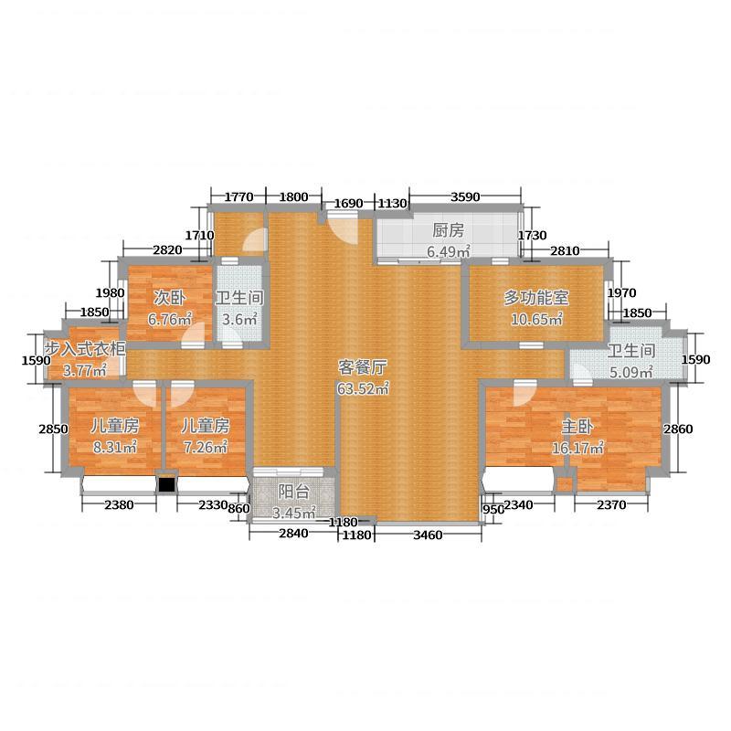 佛山星英半岛4室2厅2卫1厨172.00㎡户型图