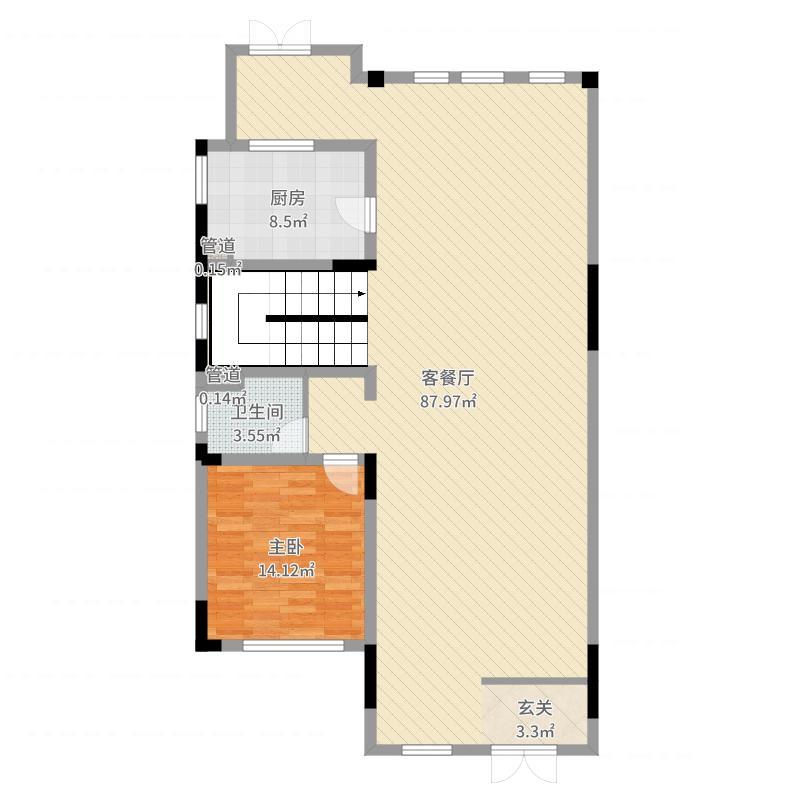 绿地内森庄园1室2厅1卫1厨143.00㎡户型图