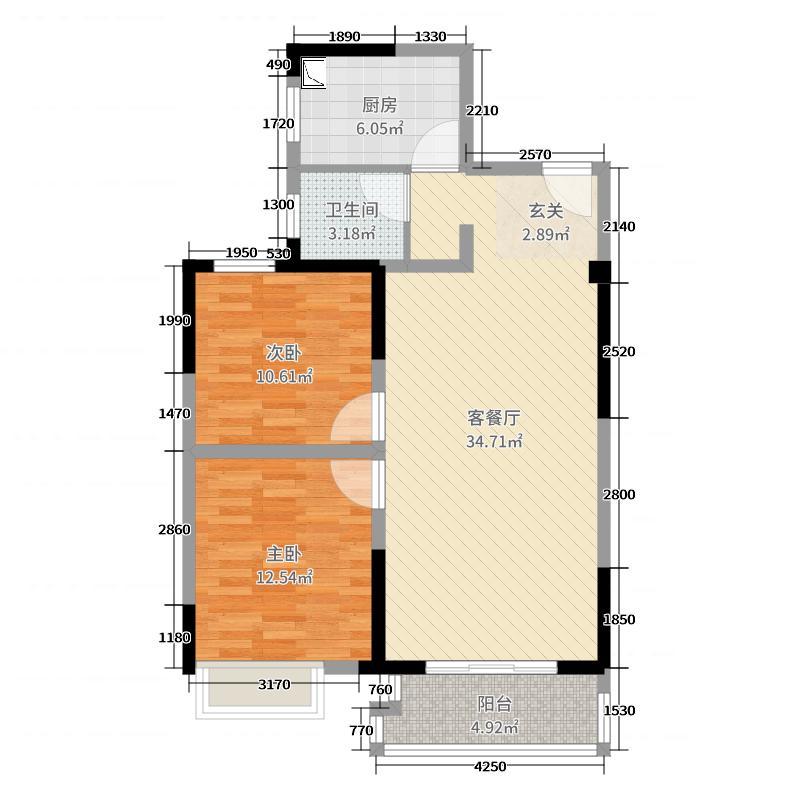 世纪家园2室2厅1卫1厨90.00㎡户型图