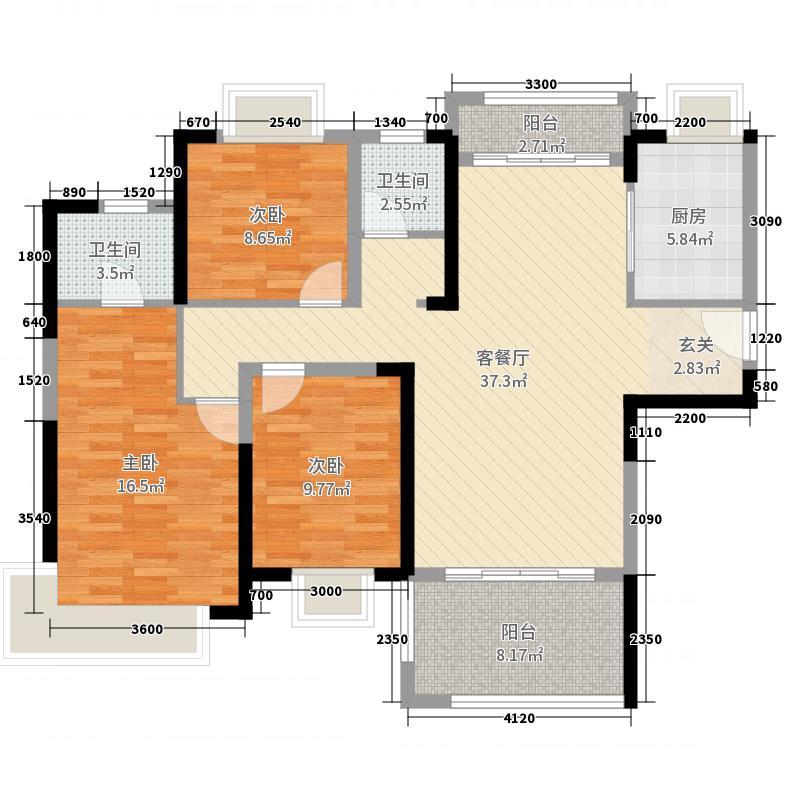 山水一城3室2厅2卫1厨119.00㎡户型图