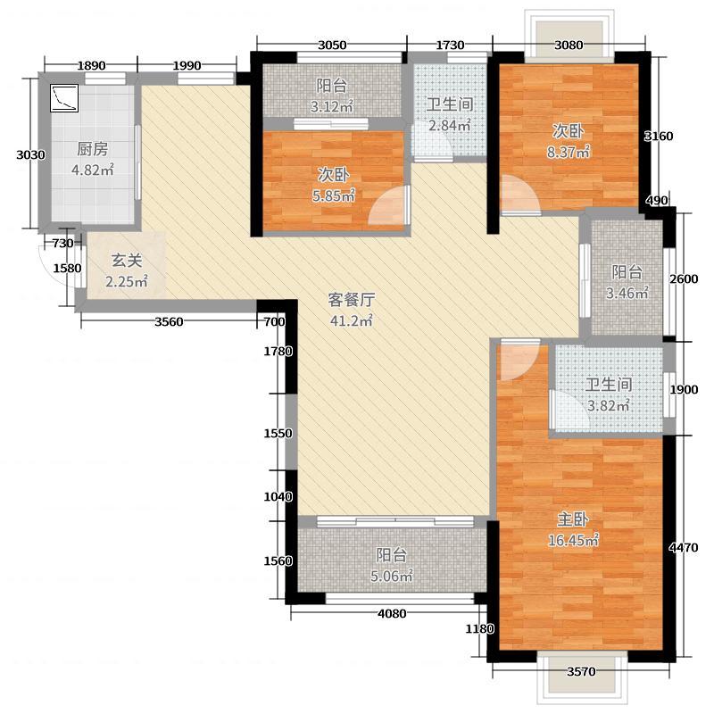 旗山领秀3室2厅2卫1厨119.00㎡户型图