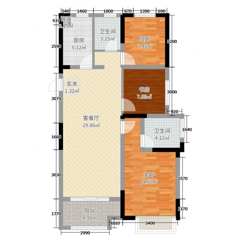 和顺东方花园3室2厅2卫1厨108.00㎡户型图