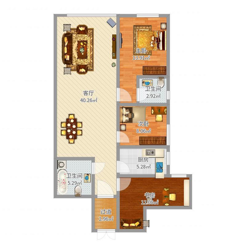 儒之源1号楼图纸129平米-按中户户型户型图大间v号楼三楼房层建二图纸图片