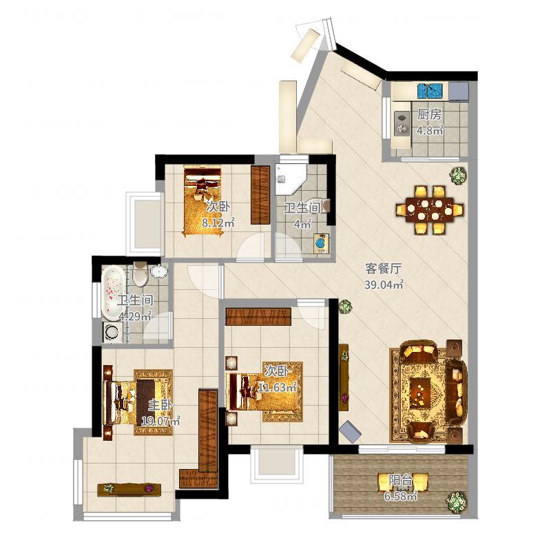 朝南维港半岛3室2厅2卫1厨122.00㎡户型图