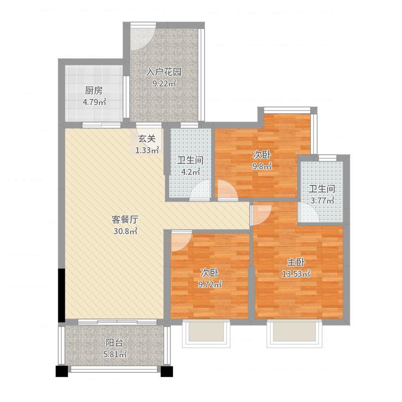 英德维港半岛3室2厅2卫1厨115.00㎡户型图
