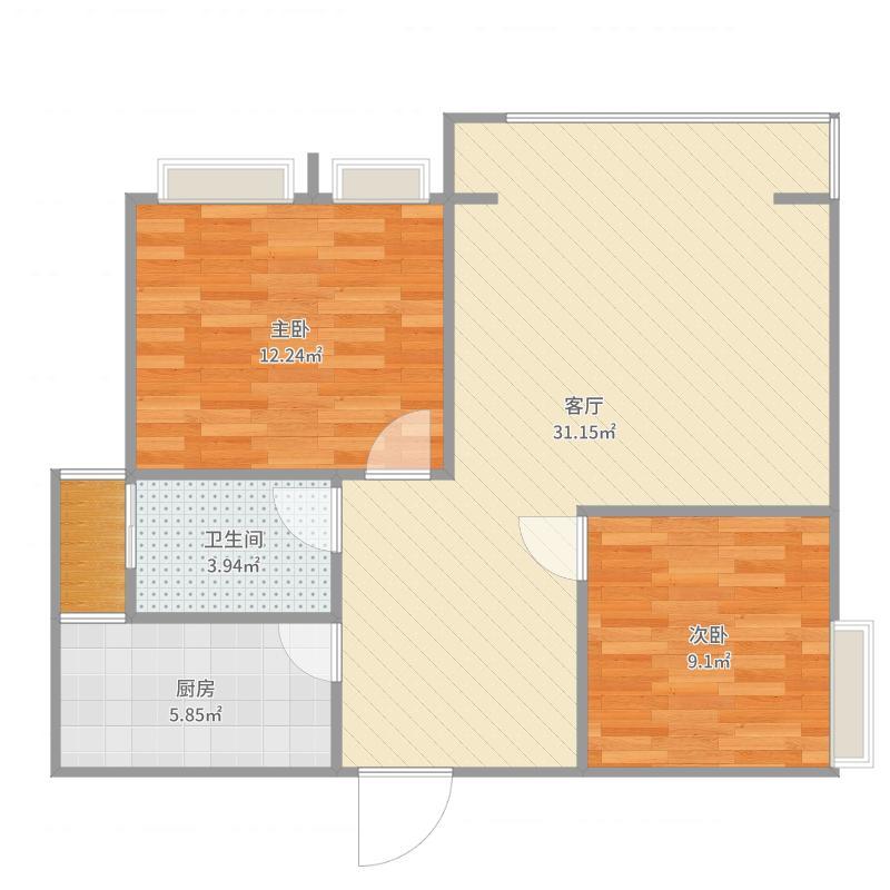 习水红都世纪城6期2室1厅1卫1厨80.00㎡户型图