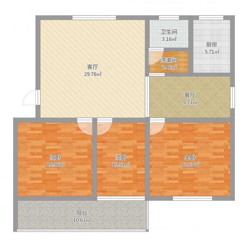 三室朝阳,东户3室2厅1卫1厨122.00㎡户型图户型图大全