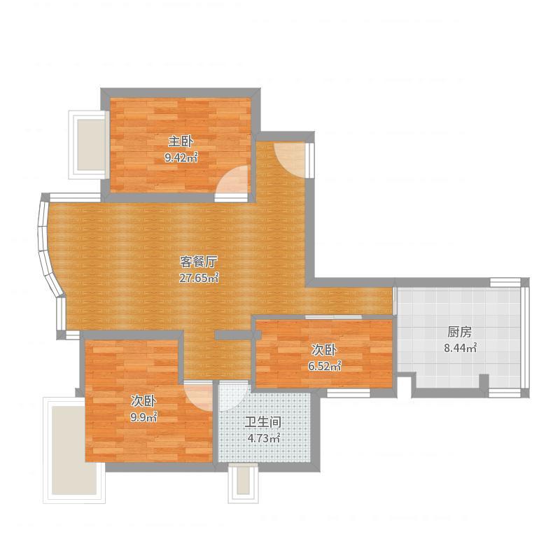 丰泽湖别墅3室2厅1卫1厨83.00山庄图户型图间两人家户层六三户型图片