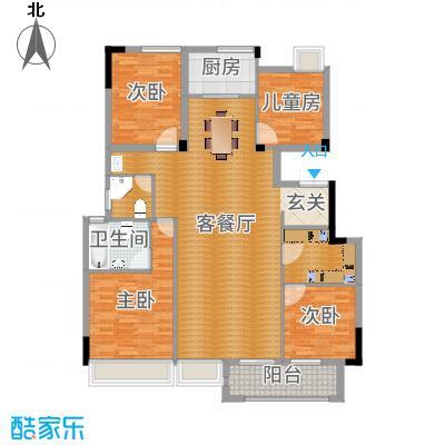 丽江半岛135.00㎡电梯花园洋房m641;户型4室2厅2卫1