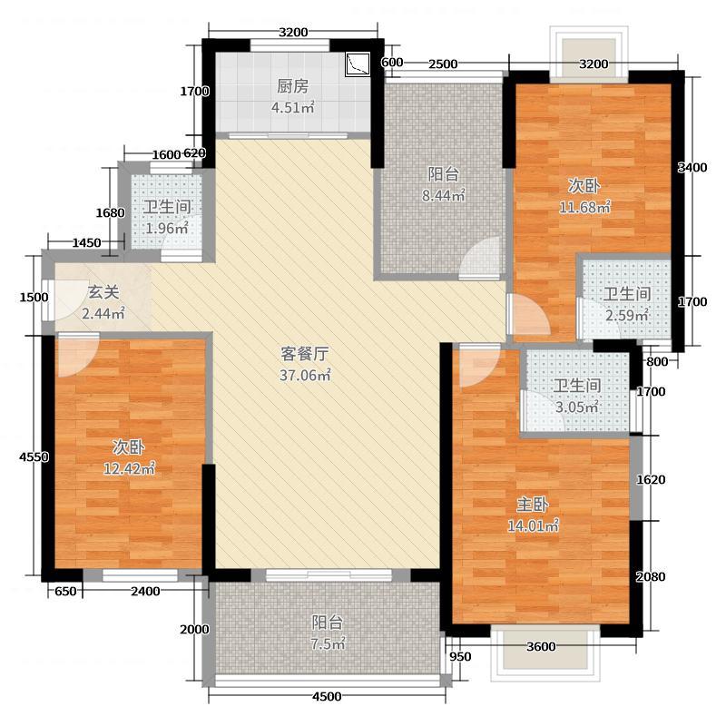帕佳图尚城雅苑3室2厅3卫1厨128.00㎡户型图